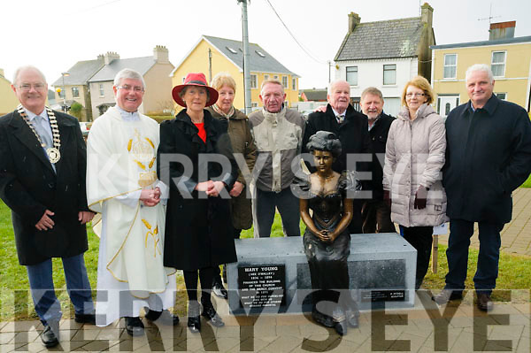 Pictured at the unveiling of a Statue to honour Mary Young who funded the building of Ballybunion Church and Convent, on Sunday last were l-r: Cllr John Lucid (Mayor of Listowel Municipal District), Fr Sean Hannafin, Eleanor Hannan, Catherine Hayes, Tom McMahon, Tommy Allen, Paddy Fitzell and noreen and michale farrell