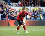 Alfredo Morelos celebrates his opening goal
