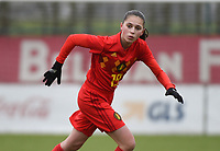20190206 - TUBIZE , BELGIUM : Belgian Jill Janssens pictured during the friendly female soccer match between Women under 17 teams of  Belgium and The Netherlands , in Tubize , Belgium . Wednesday 6th February 2019 . PHOTO SPORTPIX.BE DIRK VUYLSTEKE