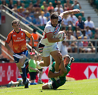 Twickenham, United Kingdom. 3rd June 2018, HSBC London Sevens Series. Game 30 Cup Quarter Final. United States vs Ireland.<br /> <br />  USA's Danny BARRETT is tackled low by Irelands,  Harry McNULTY, during Rugby 7's Rugby 7's match played at the  RFU Stadium, Twickenham, England, <br /> <br /> <br /> <br /> &copy; Peter SPURRIER/Alamy Live News