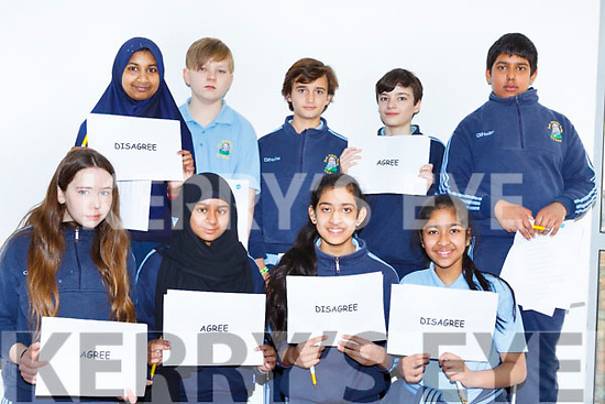 St Olivers NS pupils participating in a debate front row l-r: Naomi Moore, Mehara Hasan, Samia Repon, Shakera Rayhan. Back row: Aishah Aktarlitu, Alex Ababkob, Juan Oses, Daniel Teahan, Tasmin Khan at the KDYS Health and Wellbeing day on Friday