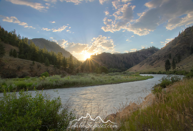 Idaho, East Central, Salmon Challis National Forest, Lemhi County, North Fork.  Summer sunset over the Salmon River.