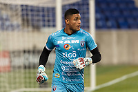 HARRISON, NJ - FEBRUARY 26: Kevin Jose Chamorro Rodriguez #1 of AD San Carlos during a game between AD San Carlos and NYCFC at Red Bull on February 26, 2020 in Harrison, New Jersey.