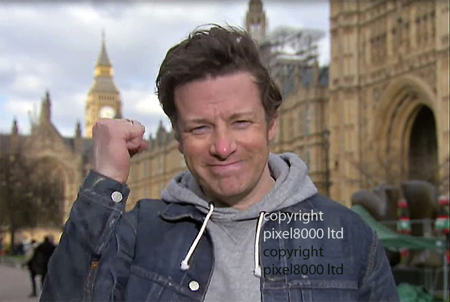 """Pic shows: Budget 2016<br /> Chef Jamie Oliver  happened to be passing Westminster  today and told Sky News he was surprised and """"humbled"""" by the introduction of sugar tax<br /> <br /> <br /> <br /> Picture by Pixel8000 07917221968"""