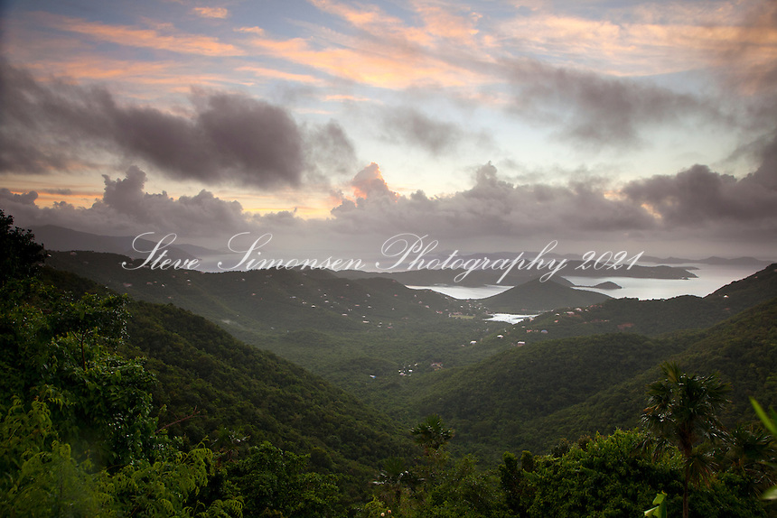 The view from Bordeaux Mountain overlook of Coral harbor(bay) and down island into the BVI's and the Sir Francis Drake channel.
