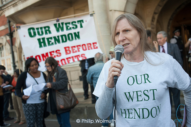 Tenants, evicted tenants and housing campaigners in Barnet, north London, protest outside Hendon Town Hall over the sale of West Hendon estate and the demolition of Sweets Way estate.