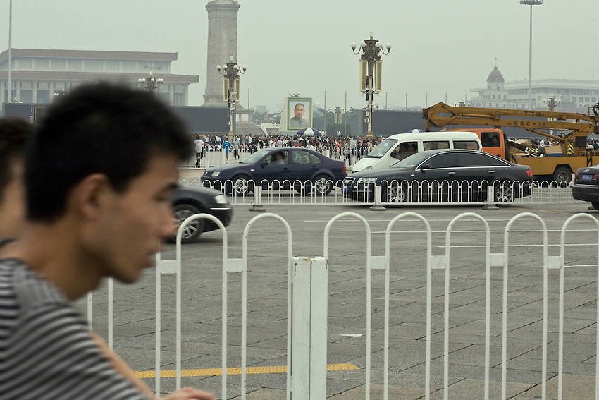 On the Chang'an avenue in front of Tiananmen square where the celebrations of the People's Republic of China will held the first october. In the backgroung, the portrait of Sunyatsen the founder of the first democratic republic in 1912 is specially displayed in front of the Mao's mausoleum. September 27 2009.