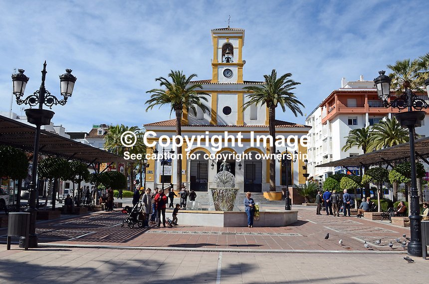 Roman Catholic Church, Plaza de la Eglesia, San Pedro de Alcantara, Malaga Province, Spain, 201302241162..Copyright Image from Victor Patterson, 54 Dorchester Park, Belfast, UK, BT9 6RJ..Tel: +44 28 9066 1296.Mob: +44 7802 353836.Voicemail +44 20 8816 7153.Skype: victorpattersonbelfast.Email: victorpatterson@me.com.Email: victorpatterson@ireland.com (back-up)..IMPORTANT: If you wish to use this image or any other of my images please go to www.victorpatterson.com and click on the Terms & Conditions. Then contact me by email or phone with the reference number(s) of the image(s) concerned.