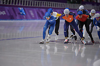 OLYMPIC GAMES: PYEONGCHANG: 24-02-2018, Gangneung Oval, Long Track, Mass Start Men, Chung Jaewon (KOR), Koen Verweij (NED), ©photo Martin de Jong