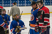 The official launch of the 48th annual Little NHL tournament, followed by a game of shinny with former NHL player Jason Simon and Little NHL players.<br /> Marian Jacko, President of LNHL<br />            Chief Christopher Plain, Aamjiwnaang First Nation<br />            Derek Chum, Vice-President Indigenous Relations, Hydro One<br />            Jason Simon, Former NHL player and Little Native Hockey League player<br />            Mike Bradley, Mayor of Sarnia