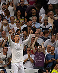 Real Madrid's Portuguese forward Cristiano Ronaldo gestures during the Spanish league football match Real Madrid CF vs Club Atletico de Madrid at the Santiago Bernabeu stadium in Madrid on September 13, 2014.  PHOTOCALL3000/DP
