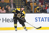 September 26, 2018: Boston Bruins left wing Brad Marchand (63) passes the puck during the NHL pre-season game between the Detroit Red Wings and the Boston Bruins held at TD Garden, in Boston, Mass. Detroit defeats Boston 3-2 in overtime. Eric Canha/CSM