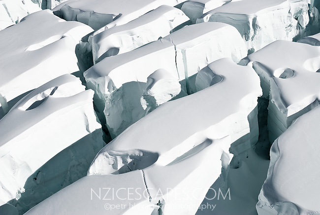 Detail of crevasses and seracs on the Fox Glacier - Westland National Park, West Coast, New Zealand
