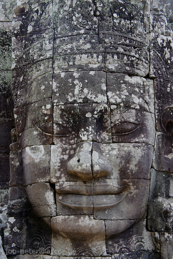 Face relief at Bayon temple, , Angkor Wat, Cambodia, August 2011