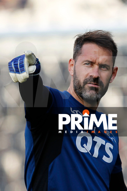 Scott Carson of Derby County pointing during the Sky Bet Championship play off semi final 2nd leg match between Fulham and Derby County at Craven Cottage, London, England on 15 May 2018. Photo by Carlton Myrie / PRiME Media Images.