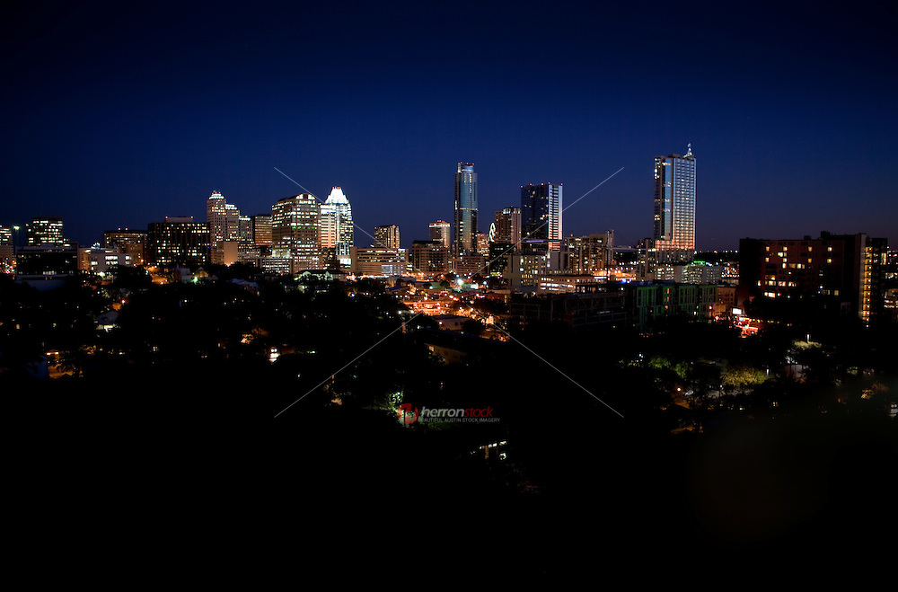Gorgeous night view of the new ubber hip sprawling Austin Skyline cityscape looking West