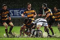 Taranaki's Chris Walker tries to get the ball off Jerome Kaino. Air New Zealand Cup rugby match - Taranaki v Auckland at Yarrows Stadium, New Plymouth, New Zealand. Friday 9 October 2009. Photo: Dave Lintott / lintottphoto.co.nz