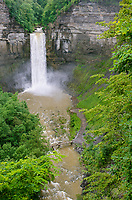 Taughannock Falls flows full with copius summer raims, Tompkins County, New York