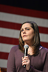 ERICA LAFFERTY SMEGIELSKI, who lost her mother Dawn Lafferty Hochsprungand, the Principal of Sandy Hook Elementary School in Newtown, CT, has serious, sad expression as she shares her personal story of loss of a loved one due to gun violence, during a discussion with Hillary Clinton and other activists on gun violence prevention. Clinton, the leading Democratic presidential primary candidate, called for stricter gun control legislation and vowed to take on the gun lobby, NRA National Rifle Association. Clinton had several Long Island events scheduled this day, and the New York presidential primary is April 19.