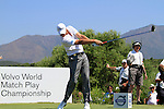 Nicolas Colsaerts (BEL) tees off on the 14th tee during the morning Semi-Final session on the Final Day of the Volvo World Match Play Championship in Finca Cortesin, Casares, Spain, 22nd May 2011. (Photo Eoin Clarke/Golffile 2011)