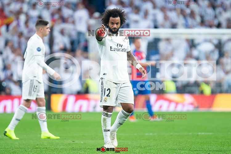Real MadridMarcelo celebrating a goal during UEFA Champions League match between Real Madrid and FC Viktoria Plzen at Santiago Bernabeu Stadium in Madrid, Spain. October 23, 2018. (ALTERPHOTOS/Borja B.Hojas)