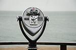 Hammonasset State Beach Park. Long Island Sound. CT. Shorefront coin operated telescope.