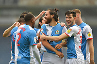 Blackburn Rovers' Ben Brereton is congratulated on scoring his team's opening goal<br /> <br /> Photographer Dave Howarth/CameraSport<br /> <br /> The EFL Sky Bet Championship - Blackburn Rovers v Reading - Saturday 18th July 2020 - Ewood Park - Blackburn<br /> <br /> World Copyright © 2020 CameraSport. All rights reserved. 43 Linden Ave. Countesthorpe. Leicester. England. LE8 5PG - Tel: +44 (0) 116 277 4147 - admin@camerasport.com - www.camerasport.com