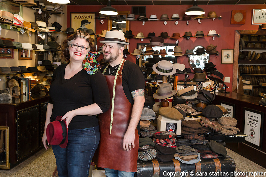 Brass Rooster Hat Shop with owners Kate and John McLaughlin in Milwaukee, Wisconsin