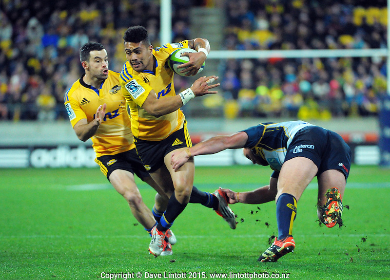 Ardie Savea in action during the Super Rugby semifinal match between the Hurricanes and Brumbies at Westpac Stadium, Wellington, New Zealand on Saturday, 27 June 2015. Photo: Dave Lintott / lintottphoto.co.nz
