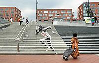 Nederland -  Amsterdam  2017.   Trappen bij het Anton de Komplein in de Bijlmer.  Graffiti gemaakt door het Graffitinetwerk team.  Foto Berlinda van Dam / Hollandse Hoogte