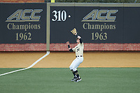 Wake Forest Demon Deacons left fielder Chris Lanzilli (24) catches a fly ball during the game against the Notre Dame Fighting Irish at David F. Couch Ballpark on March 10, 2019 in  Winston-Salem, North Carolina. The Demon Deacons defeated the Fighting Irish 7-4 in game one of a double-header.  (Brian Westerholt/Four Seam Images)