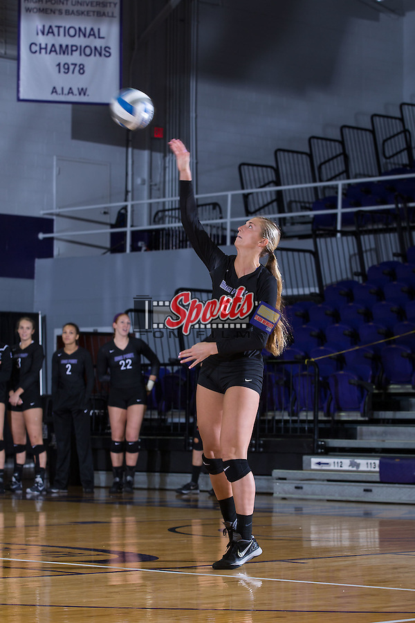 Megan Kennedy (6) of the High Point Panthers serves against the Marshall Thundering Herd at the Panther Invitational at the Millis Athletic Center on September 12, 2015 in High Point, North Carolina.  The Thundering Herd defeated the Panthers 3-2.   (Brian Westerholt/Sports On Film)