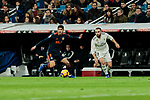 Real Madrid's Dani Carvajal and Valencia CF's Gonzalo Guedes during La Liga match between Real Madrid and Valencia CF at Santiago Bernabeu Stadium in Madrid, Spain. December 01, 2018. (ALTERPHOTOS/A. Perez Meca)