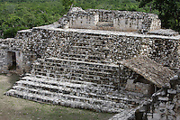 The Acropolis (Detail), singular architectural style that combines elements from the Peten, Puuc, Quintana Roo coast, Rio Bec and Chenes regions, Ek Balam (?Black Jaguar? in Maya), flourished during the Late Classic period between 700 and 1200 AD, Yucatan, Mexico. Picture by Manuel Cohen