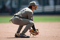 Vanderbilt Commodores third baseman Austin Martin (16) on defense during Game 3 of the NCAA College World Series against the Louisville Cardinals on June 16, 2019 at TD Ameritrade Park in Omaha, Nebraska. Vanderbilt defeated Louisville 3-1. (Andrew Woolley/Four Seam Images)
