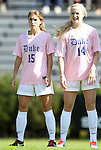 23 October 2011: Duke's Molly Lester (15) and Erin Koballa (14). The Duke University Blue Devils defeated the University of Maryland Terrapins 3-1 at Koskinen Stadium in Durham, North Carolina in an NCAA Division I Women's Soccer game.