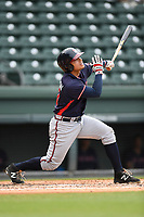 Left fielder Anthony Concepcion (23) of the Rome Braves bats in game one of a doubleheader against the Greenville Drive on Tuesday, May 30, 2017, at Fluor Field at the West End in Greenville, South Carolina. Rome won, 10-7. (Tom Priddy/Four Seam Images)