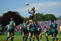 Elliott Stooke of Bath Rugby rises high to win lineout ball. Aviva Premiership match, between Bath Rugby and London Irish on May 5, 2018 at the Recreation Ground in Bath, England. Photo by: Patrick Khachfe / Onside Images