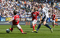Bolton Wanderers' David Wheater scoring his side's second goal <br /> <br /> Photographer Andrew Kearns/CameraSport<br /> <br /> The EFL Sky Bet Championship - Bolton Wanderers v Nottingham Forest - Sunday 6th May 2018 - Macron Stadium - Bolton<br /> <br /> World Copyright &copy; 2018 CameraSport. All rights reserved. 43 Linden Ave. Countesthorpe. Leicester. England. LE8 5PG - Tel: +44 (0) 116 277 4147 - admin@camerasport.com - www.camerasport.com