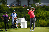 Jon Rahm (ESP) watches his tee shot on 18 during Rd4 of the 2019 BMW Championship, Medinah Golf Club, Chicago, Illinois, USA. 8/18/2019.<br /> Picture Ken Murray / Golffile.ie<br /> <br /> All photo usage must carry mandatory copyright credit (© Golffile | Ken Murray)