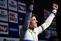 Picture by Simon Wilkinson/SWpix.com - 27/09/2018 - Cycling 2018 Road Cycling World Championships Innsbruck-Tiriol, Austria - Men's Junior Road Race - Remco Evenepoel of Belgium celebrates in the rainbow jersey.