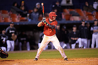 Ball State Cardinals shortstop Alex Maloney (6) at bat during a game against the Wisconsin-Milwaukee Panthers on February 26, 2016 at Chain of Lakes Stadium in Winter Haven, Florida.  Ball State defeated Wisconsin-Milwaukee 11-5.  (Mike Janes/Four Seam Images)