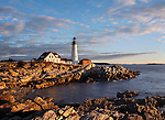 The Portland Head Light At Sunrise, Portland, Maine, USA