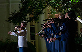 The Presidents Own United States Marine band preforms for U.S. President Donald Trump and First Lady Melania Trump , as they welcome Australian Prime Minister Scott Morrison and Mrs. Morrison to the White House in Washington for a state dinner September 20, 2019. <br /> Credit: Tasos Katopodis / Pool via CNP