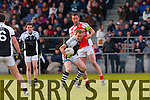 Dave Curtin Brosna fights  for posession of the loose ball with  Glin's Philip Moloney  during the Munster junior final in mallow on Sunday