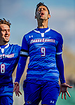 26 October 2019: University of Massachusetts Lowell River Hawk Forward Stanley Alves, a Graduate from Minas Gerais, Brazil, celebrates scoring the first goal of the game against the University of Vermont Catamounts at Virtue Field in Burlington, Vermont. The Catamounts rallied to defeat the River Hawks 2-1, propelling the Cats to the America East Division 1 conference playoffs. Mandatory Credit: Ed Wolfstein Photo *** RAW (NEF) Image File Available ***