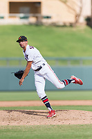 Salt River Rafters relief pitcher Devin Smeltzer (41), of the Minnesota Twins organization, follows through on his delivery during an Arizona Fall League game against the Surprise Saguaros at Salt River Fields at Talking Stick on October 23, 2018 in Scottsdale, Arizona. Salt River defeated Surprise 7-5 . (Zachary Lucy/Four Seam Images)