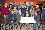 PALLATIVE: On Sunday night in the Anvil Bar, Boolteen, Keel a cheque was presented to Ted Moynihan (Kerry Hospice Foundation and the Pallative Care Unit Kerry General, Tralee) from Liz O'Connor The Anvil Bar) of €8,000 which was raise by having Bar-b-que Front l-r: Mr Tom McCormack, Donal Griffin, Liz O'Connor and Ted Moynihan. 2nd row l-r: Micheál Ó SúilleabhainTanya Palmer, Margaret Ashe, Deirdre Griffin, Stephen O'Connor, Katherine O'Connor, Cora O'Connor and Mike O'Shea. Back l-r: Frank and James Ashe, Shane Kerrisk and Sean Foley.