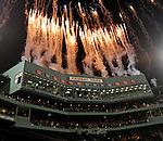 (Boston, MA, 11/21/15) Fireworks burst over the Fenway Park scoreboard after Notre Dame beat Boston College 19-16 at Fenway Park in Boston on Saturday, November 21, 2015. Photo by Christopher Evans