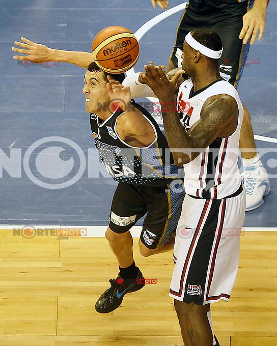 USA's LeBron James (r) and Argentina's Pablo Prigioni during friendly match.July 22,2012. (ALTERPHOTOS/Acero) /NortePhoto.com*2012-07-22<br /> **CREDITO*OBLIGATORIO** <br /> *No*Venta*A*Terceros*<br /> *No*Sale*So*third*<br /> *** No Se Permite Hacer Archivo**